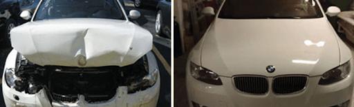Фото до и после ремонта капота BMW
