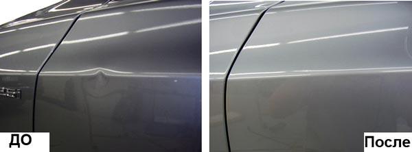 Фото примера ремонта вмятины на двери авто