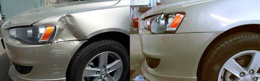 Фото примера ремонта вмятины на крыле авто