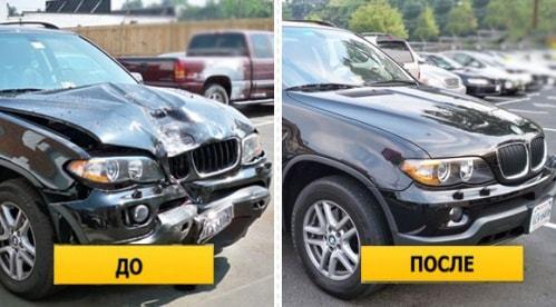 Фото до и после ремонта капота и бампера BMW